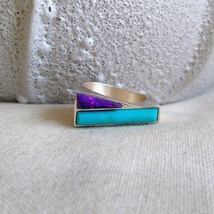 Sterling Purple Mohave Blue  turquoise  ring 8